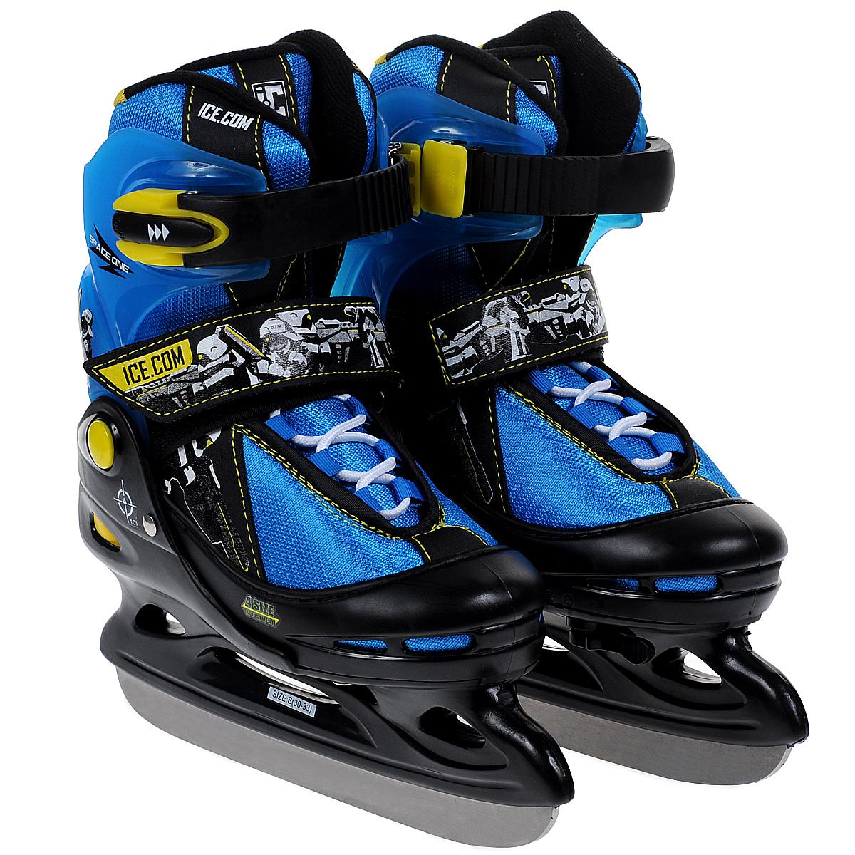 Коньки ледовые для мальчика Ice. Com Space, раздвижные, цвет: черный, синий. Размер 30/33SpaceЯркие ледовые коньки для мальчика Space от Ice. Com отлично подойдут для начинающих обучаться катанию. Ботинок Comfortable Fit очень хорошо держит ногу и при этом, позволит чувствовать удобство во время катания. Он изготовлен из морозостойкого пластика, который защитит ногу от ударов, и прочного нейлона со вставками из ПВХ и поролоновым утеплителем. Четкую фиксацию голени обеспечивают шнуровка Quick Lace, застежка на липучке Velcro и застежка с фиксатором Power Strap. Стальное хоккейное лезвие обеспечит превосходное скольжение.Особенностью коньков является раздвижная конструкция, которая позволяет увеличивать длину ботинка на 4 размера по мере роста ноги ребенка.Для того, чтобы Вам максимально точно подобрать размер коньков, узнайте длину стопы с точностью до миллиметра. Для этого поставьте босую ногу на лист бумаги А4 и отметьте на бумаге самые крайние точки Вашей стопы (пятка и носок). Затем измерьте обычной линейкой расстояние (до миллиметра) между этими отметками на бумаге. Не забудьте учесть 2-3 мм запаса под носок.