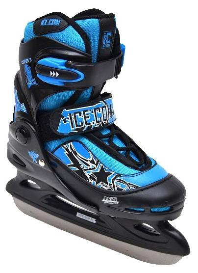 Коньки ледовые для мальчика Ice.Com Toper II, раздвижные, цвет: черный, синий. Размер 30/33