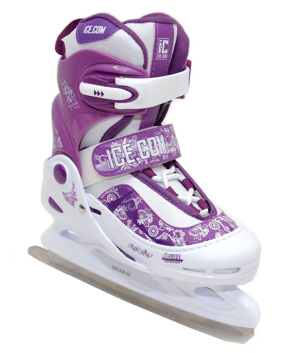 Коньки ледовые для девочки Ice.Com Evia, раздвижные, цвет: сиреневый, белый. Размер 30/33