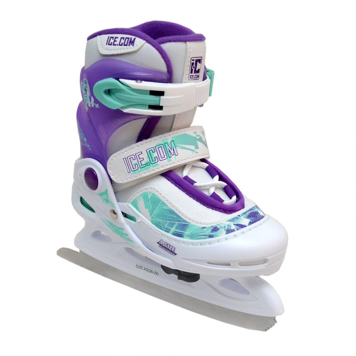 Коньки ледовые для девочки Ice. Com Estel, раздвижные, цвет: белый, фиолетовый, бирюзовый. Размер 26/29EstelЯркие ледовые коньки для девочки Estel от Ice. Com отлично подойдут для начинающих обучаться катанию. Ботинок Comfortable Fit крепко охватывает ногу, оставаясь удобным для катания. Он изготовлен из морозостойкого пластика, который защитит ногу от ударов, и прочного нейлона со вставками из ПВХ. Поролоновый утеплитель не позволит ногам замерзнуть. Четкую фиксацию голени обеспечивают шнуровка Quick Lace, застежка на липучке Velcro и застежка с фиксатором Power Strap.Стальное фигурное лезвие обеспечит превосходное скольжение.Особенностью коньков является раздвижная конструкция, которая позволяет увеличивать длину ботинка на 4 размера по мере роста ноги ребенка. Размер регулируется при помощи рычажка.Оформлена модель оригинальными узорами и тиснениями в виде логотипа бренда на пятке, язычке и застежке.Чтобы максимально точно подобрать размер коньков, определите длину своей стопы с точностью до миллиметра. Для этого поставьте босую ногу на лист бумаги А4 и отметьте на бумаге пятку и носок своей стопы. Затем измерьте обычной линейкой расстояние (до миллиметра) между этими отметками на бумаге. Не забудьте добавить 2-3 мм запаса.