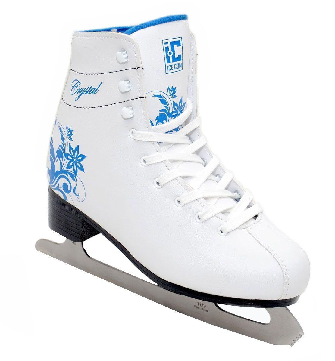 Коньки фигурные женские Ice.Com Crystal, цвет: синий, белый. Размер 39CrystalКоньки фигурные женские Ice.Com Crystal 2014-2015 с высоким классическим ботинком идеально подойдут для начинающих. Конструкция ботинка разработана специально с учетом того, что нога при катании должна находиться в полусогнутом состоянии, а голень имеет небольшой наклон вперед. Верх ботинка выполнен из морозостойкой искусственной кожи, подошва - морозостойкий ПВХ. Стальное никелированное высокопрочное лезвие сертифицировано TUV. Для того, чтобы вам максимально точно подобрать размер коньков, узнайте длину стопы с точностью до миллиметра. Для этого поставьте босую ногу на лист бумаги А4 и отметьте на бумаге самые крайние точки вашей стопы (пятка и носок). Затем измерьте обычной линейкой расстояние (до миллиметра) между этими отметками на бумаге. Не забудьте учесть 2-3 мм запаса под носок.