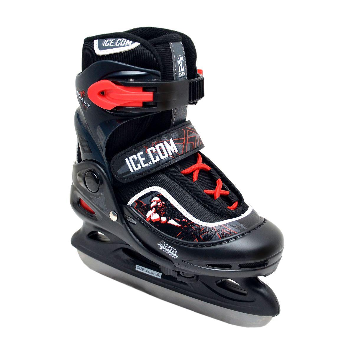 Коньки ледовые для мальчика Ice.Com Beast, раздвижные, цвет: черный, красный. Размер 26/29