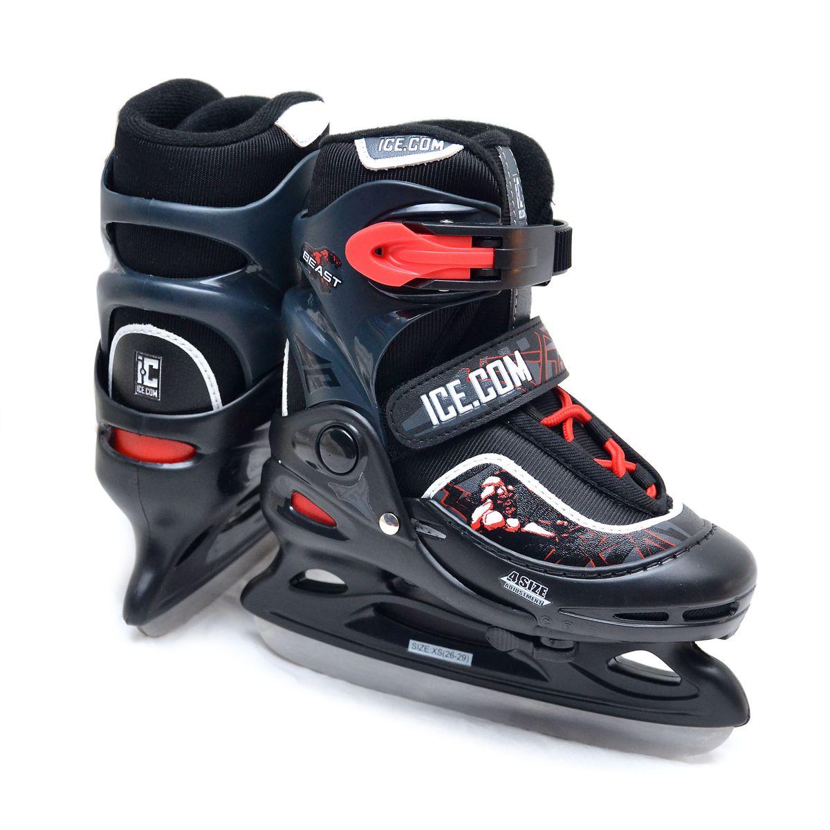 Коньки ледовые для мальчика Ice.Com Beast, раздвижные, цвет: черный, красный. Размер 34/37