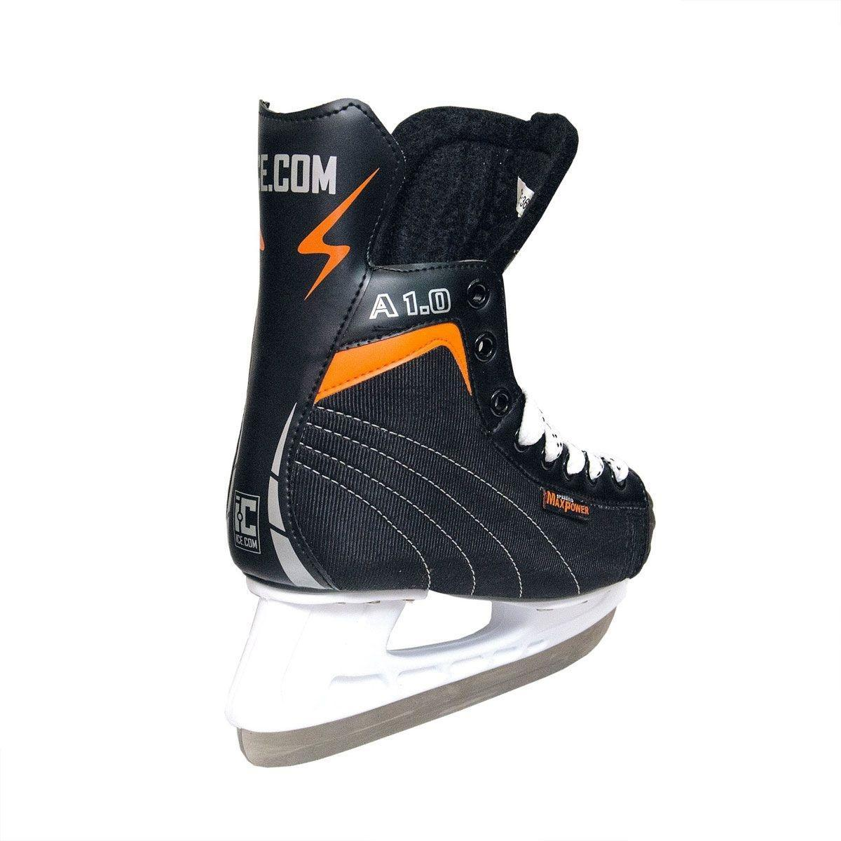 Коньки хоккейные Ice.Com A 1.0, цвет: черный, оранжевый. Размер 44