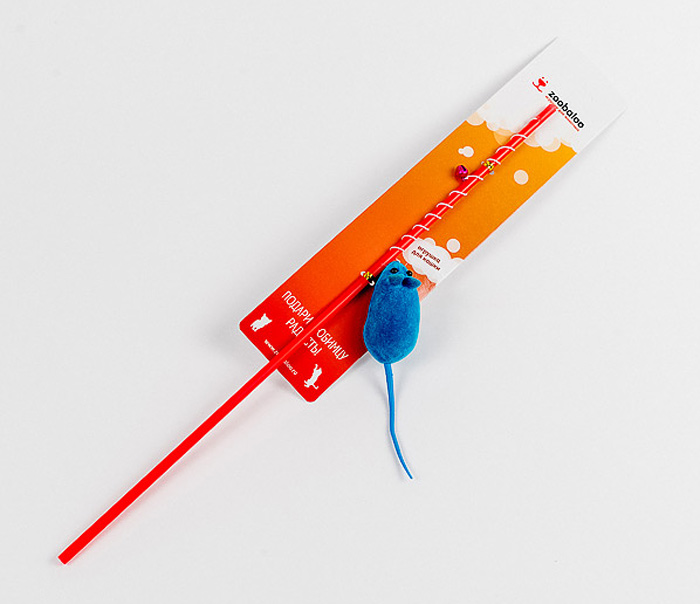 Игрушка для кошек Zoobaloo Удочка с мышкой, длина 40 см игрушка для животных каскад удочка с пауком и перьями длина 58 5 см