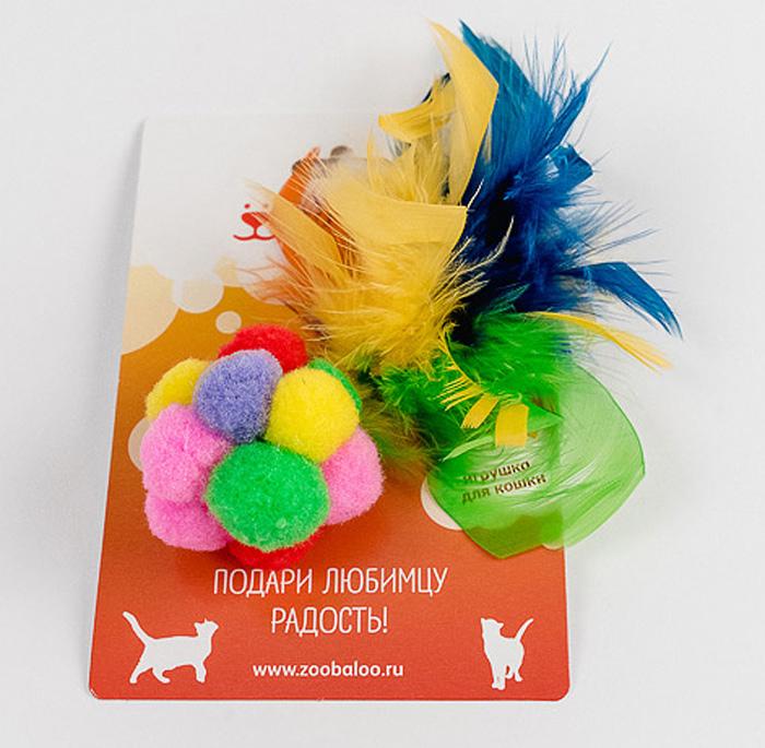Игрушка для кошек Zoobaloo Разноцветный мячик с пером игрушка для кошек zoobaloo разноцветный мячик с пером