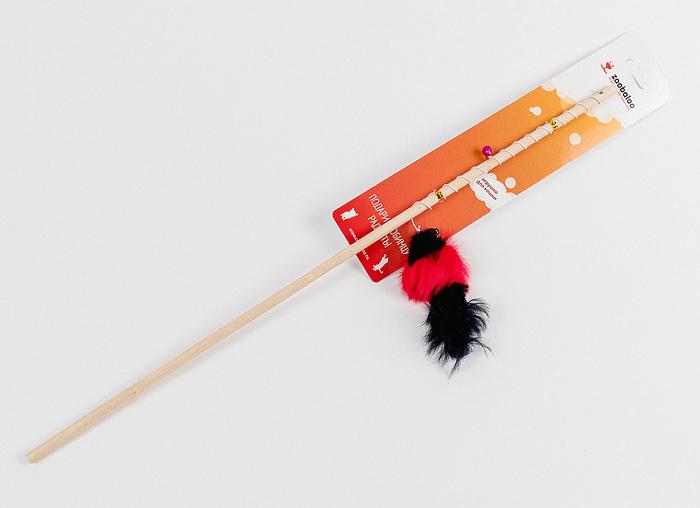 Игрушка для кошек Zoobaloo Бамбук. Меховая мышь на резинке, длина 60 см игрушка для кошки плюшевый мяч с бубенчиком с кошачьей мятой zoobaloo