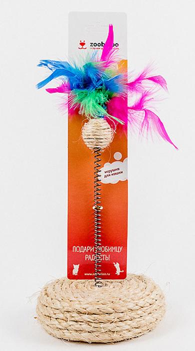 Игрушка для кошек Zoobaloo Сизаль-шар с пером на подставке, высота 25 см игрушка для кошки плюшевый мяч с бубенчиком с кошачьей мятой zoobaloo