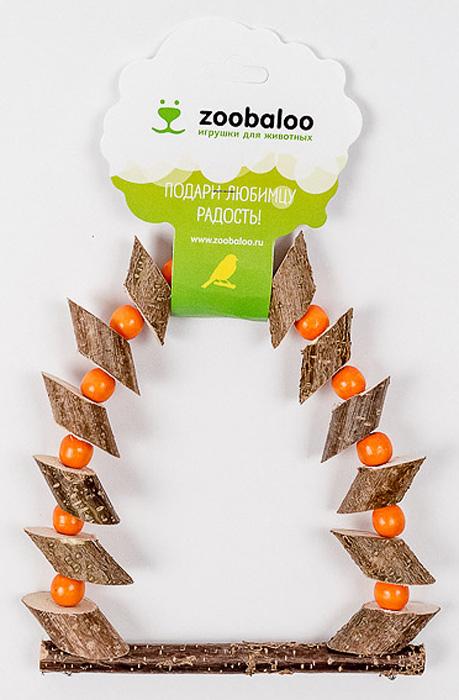 Игрушка для птиц Zoobaloo Качели деревянные с бусинками качели