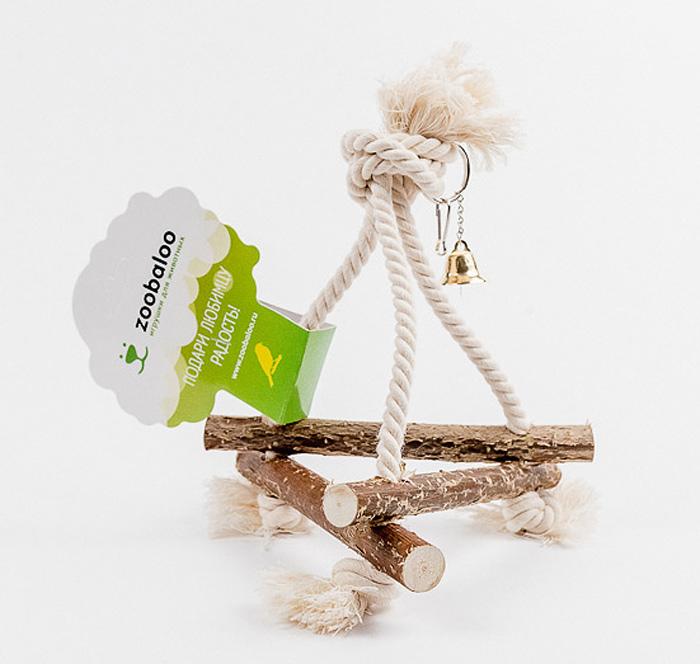 Игрушка для птиц Zoobaloo Качели малые538Игрушка Zoobaloo Качели малые - отличный аксессуар для клетки ваших пернатыхдрузей. Качели выполнены в виде деревянных жердочек из орешника,оборудованы маленьким колокольчиком и металлическим карабином дляподвешивания к клетке. Чтобы обезопасить лапки пернатых любимцев, брусочкисоединены хлопковой веревкой.