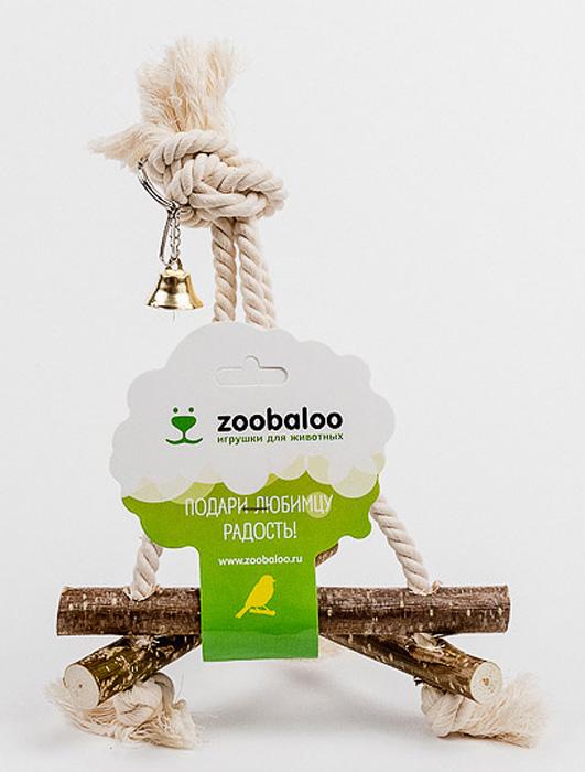 Игрушка для птиц Zoobaloo Качели средние539Игрушка Zoobaloo Качели средние - отличный аксессуар для клетки вашихпернатых друзей. Качели выполнены в виде деревянных жердочек из орешника,оборудованы маленьким колокольчиком и металлическим карабином дляподвешивания к клетке. Чтобы обезопасить лапки пернатых любимцев, брусочкисоединены хлопковой веревкой.