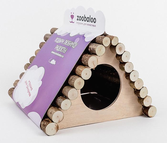 Домик для грызунов Zoobaloo Треугольник, 18 х 15 х 15 см