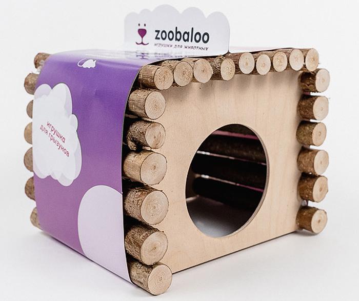 Домик для грызунов Zoobaloo КвадроДом, 19 х 12 х 16 см домик для грызунов zoobaloo овал 19 х 12 х 16 см