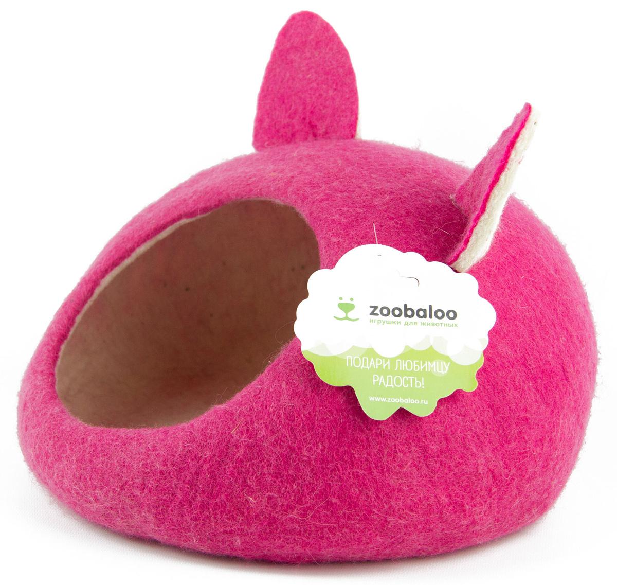 Домик-слипер для животных Zoobaloo WoolPetHouse, с ушками, цвет: малиновый, размер S813Домик-слипер Zoobaloo WoolPetHouse предназначен для отдыха и сна питомца. Домик изготовлен из 100% шерсти мериноса. Учтены все особенности животного сна: форма, цвет, материал этого домика - все подобрано как нельзя лучше! В нем ваш любимец будет видеть только цветные сны. Шерсть мериноса обеспечит превосходный микроклимат внутри домика, а его форма позволит питомцу засыпать в самой естественной позе.