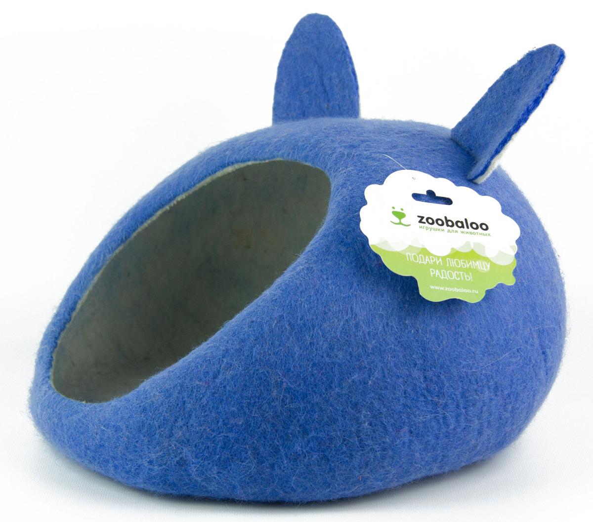 Домик-слипер для животных Zoobaloo WoolPetHouse, с ушками, цвет: синий, размер L963Домик-слипер Zoobaloo WoolPetHouse предназначен для отдыха и сна питомца. Домик изготовлен из 100% шерсти мериноса. Шерсть мериноса обеспечит превосходный микроклимат внутри домика, а его форма позволит питомцу засыпать в самой естественной позе.