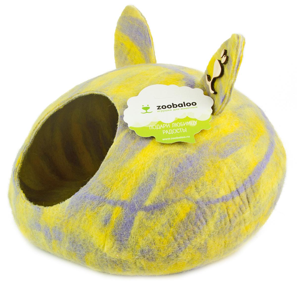 Домик-слипер для животных Zoobaloo WoolPetHouse, с ушками, цвет: мультиколор, желтый, размер L домики для животных zoobaloo домик для грызунов