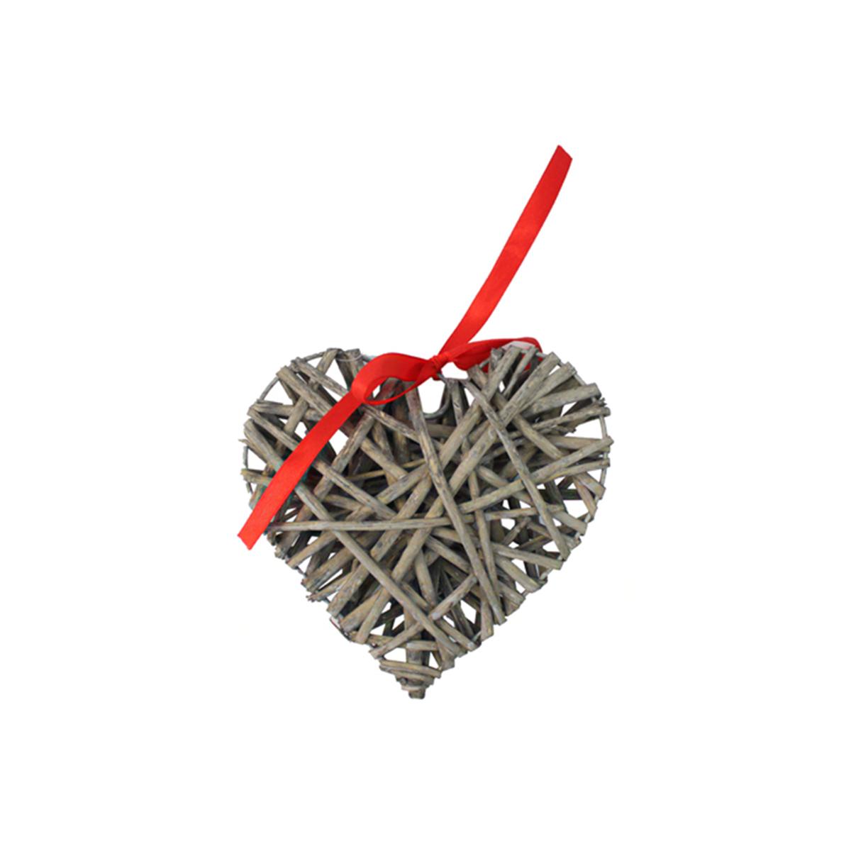 Декоративный элемент Glorex Сердце, цвет: серый, 15 см декоративный элемент dongjiang art сердце цвет фуксия 10 шт