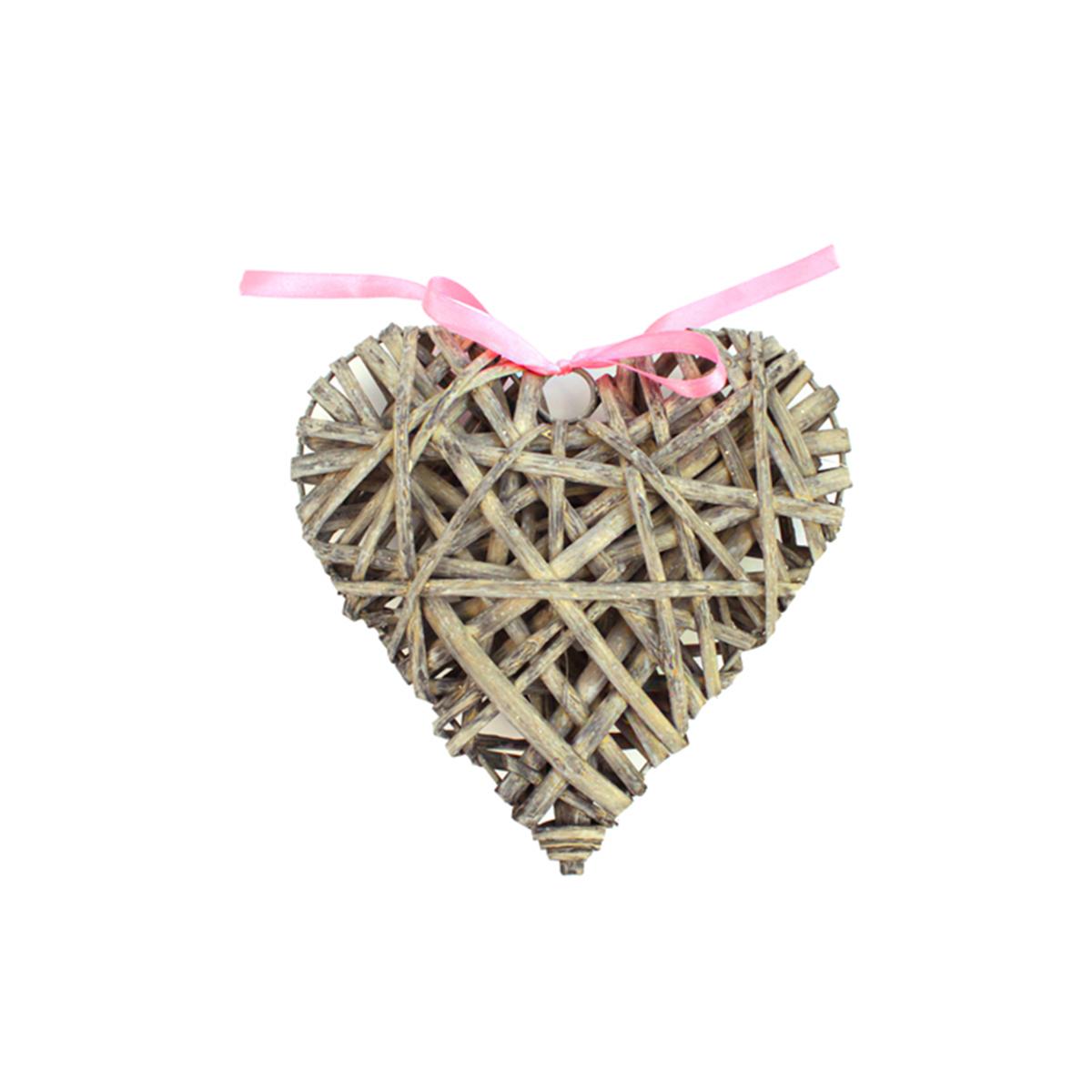 Декоративный элемент Glorex Сердце, цвет: серый, 20 см декоративный элемент dongjiang art сердце цвет фуксия 10 шт