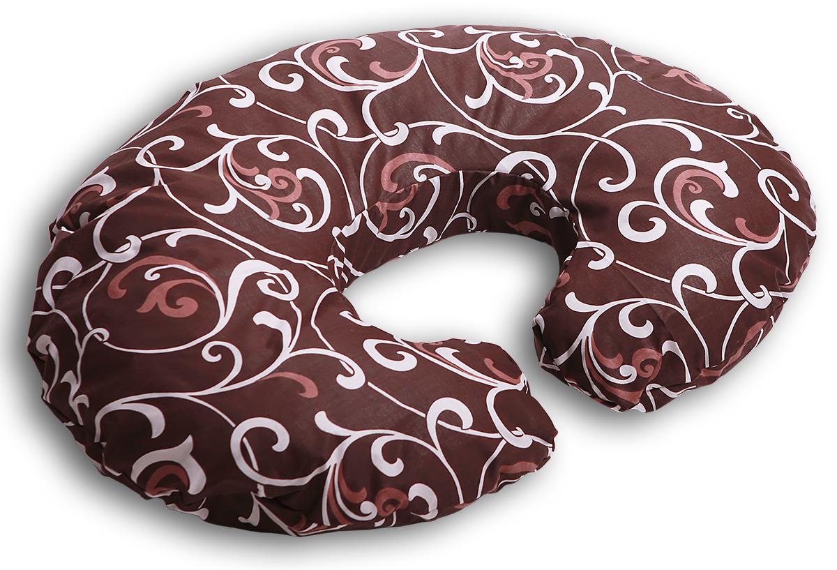 Body Pillow Подушка для беременных и кормящих Рогалик цвет шоколадныйС70х90 пено шокПодушка для кормления «Рогалик» - это ни с чем несравнимый комфорт молодой мамы и малыша во время кормления грудью. Подушка одевается вокруг талии мамы, и малыш располагается на подушке. Так, подушка поддерживает все тело малыша, и ему удобно. А у мамы нет напряжения в области рук, шеи и спины.Подушку можно использовать как гнездышко для малыша во время игры, а еще в ней удобно учиться сидеть.Подушкой можно пользоваться и до появления малыша – во время сна подкладывать под животик.Наполнитель подушки – шарики пенополистирола – похожи на шарики анти-стресс, но диаметром 3-4 мм - это гипоаллергенный материал, который на 80% состоит из воздуха, заключенного в микроскопические клетки из вспененного полистирола.Благодаря особенности наполнителя, подушка жесткая, практически не поддается деформации и не пружинит. Контур подушки подстраивается под форму тела (шарики распределяются под весом тела). При перемещении шариков подушка издает шуршащие звуки.В комплекте есть съемная наволочка на молнии шоколадного цвета с бежевым узором «Вензеля» из плотного поликаттона, которая будет очень эффектно смотреться в любом интерьере.