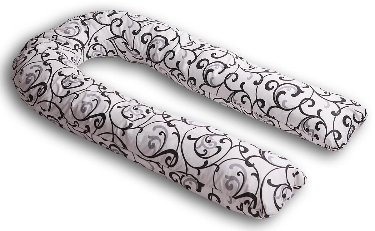 Body Pillow Подушка для беременных и кормящих U-образная цвет белый черныйU90х150 пено бел-чернПодушка для беременных Body Pillow в форме U – самая популярная и самая большая подушка, которая помогает будущей маме комфортно устроиться во время дневного и ночного отдыха. Она равномерно поддерживает спинку и растущий животик, и при переворачивании на другую сторону подушку не нужно перетаскивать за собой, она обнимает тело со всех сторон. Размер подушки 340 см по внешнему краю. За счет своих размеров подушка идеально подойдет даже очень высоким девушкам.Наполнитель подушки – шарики пенополистирола – похожи на шарики анти-стресс, но диаметром 3-4 мм - это гипоаллергенный материал, который на 80% состоит из воздуха, заключенного в микроскопические клетки из вспененного полистирола.Благодаря особенности наполнителя, подушка жесткая, практически не поддается деформации и не пружинит. Благодаря этому свойству подушка идеально подойдет и для девушек с пышными формами. Контур подушки подстраивается под форму тела (шарики распределяются под весом тела). При перемещении шариков подушка издает шуршащие звуки.В комплекте есть съемная наволочка на молнии бело-серого цвета с черным и серебристым узором «Вензеля» из плотного поликаттона, которая будет очень эффектно смотреться в любом интерьере.