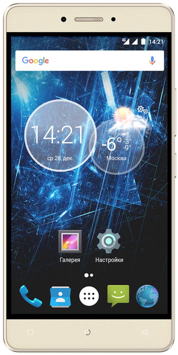 Highscreen Power Ice Max, Gold23829Highscreen Power Ice Max — Hi-Tech и искусство в одном смартфоне. Отличительная особенность серии Power – батарея с рекордной ёмкостью, которая позволяет использовать все возможности твоего смартфона.Смартфон оснащен восьмиядерным процессором MediaTek MT6750. Он стал еще более энергоэффективным и производительным, в совокупности с 3 ГБ оперативной памяти способен удовлетворить все ваши потребности. Устройство имеет 32 ГБ встроенной памяти, а также слот для карты памяти microSD.Смартфон обладает потрясающим 5.3'' экраном, выполненным по технологии InCell. Он очень яркий и контрастный, передает максимально правильные цвета и имеет превосходные углы обзора. Вам будет очень приятно читать, смотреть фильмы и играть на этом телефоне. Благодаря простому приложению смартфон можно использовать как универсальный пульт дистанционного управления и смотреть потоковое или IP-телевидение.LTE-Advanced (Cat.6) способен обеспечить наивысшую скорость передачи данных - до 300 Мбит/с. Еще больше возможностей для серфинга и потребления контента. Смотрите фильмы, слушайте музыку, скачивайте торренты и ни в чем себе не отказывайте. Highscreen Power Ice Max поддерживает использование двух SIM-карт, что очень удобно в работе и личной жизни.Получайте отличные кадры благодаря основной камере 13 Мпикс и фронтальной 5 Мпикс. Вы можете моментально выбирать нужные фильтры и изменять настройки по своему усмотрению. Создавайте настоящие шедевры и делитесь ими с близкими. Highscreen Power Ice Max приведет вас в правильное место, ведь он одновременно поддерживает сразу две системы спутниковой навигации - российский ГЛОНАСС и американский GPS.Телефон сертифицирован EAC и имеет русифицированный интерфейс меню и Руководство пользователя на русском языке.