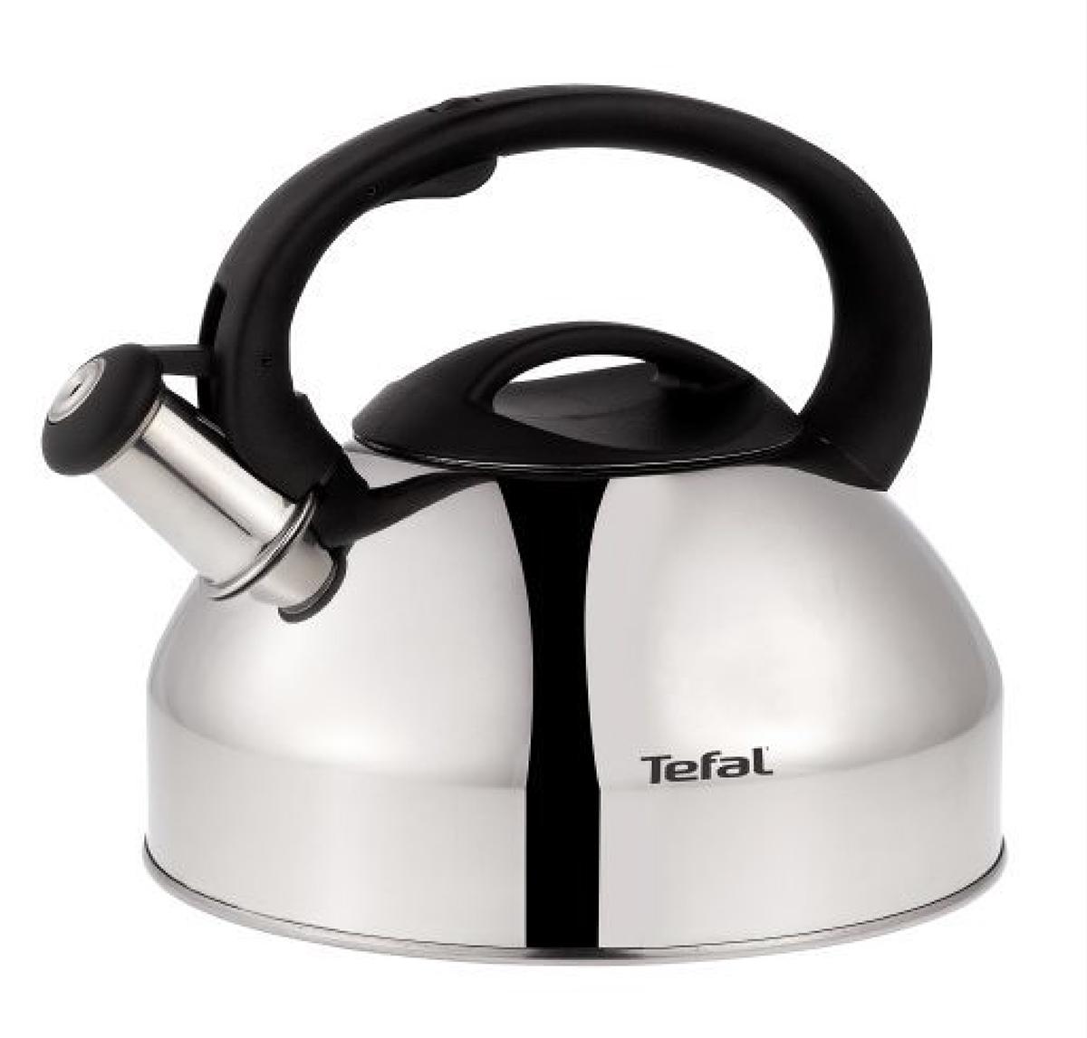 Чайник Tefal, со свистком, 2,5 л. C7921024C7921024Чайник Tefal изготовлен из шлифованной нержавеющей стали. Фиксированная ручка эргономичной формы изготовлена из бакелита. Носик чайника оснащен откидным свистком, звуковой сигнал которого подскажет, когда закипит вода. Свисток открывается/закрывается с помощью рычага на ручке чайника. Чайник Tefal - качественное исполнение и стильное решение для вашей кухни. Чайник подходит для всех типов плит, кроме индукционных.