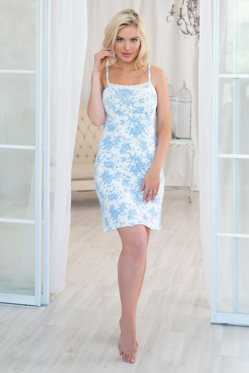 Ночная рубашка женская Mia Cara, цвет: слоновая кость, голубой. AW16-MCUZ-727. Размер 50/52 пижама женская футболка шорты mia cara portugal цвет розовый голубой aw16 mc 813 размер 50 52