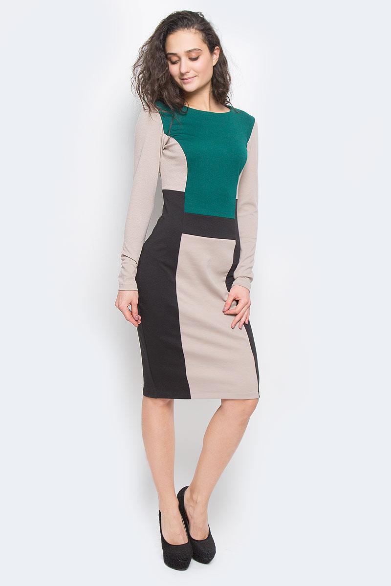 Платье La Via Estelar, цвет: темно-коричневый, бежевый, зеленый. 14998-1. Размер 50 платье la via estelar цвет фиолетовый 14672 2 размер 48