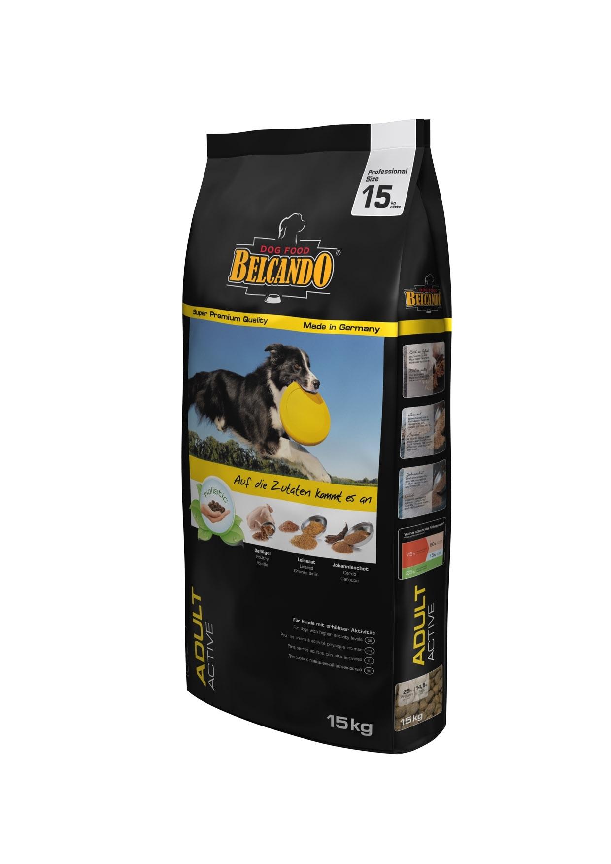 Корм сухой Belcando Adult Activ, для активных собак крупных и средних пород, с индейкой, 15 кг32148Корм Belcando Adult Activ - полноценный корм для активных собак крупных и средних пород. В состав корма входят плоды рожкового дерева для поддержания работы желудочно-кишечного тракта. Добавлена мука из виноградной косточки для поддержания работы сердца.Корм идеален для активных собак, которым требуется большое количество минеральных веществ и микроэлементов!Сбалансированная энергетическая ценность корма Belcando Adult Active позволяет вашему питомцу оставаться в отличной форме. Легкоусваиваемые жиры и незаменимые аминокислоты улучшают выносливость и физическое состояние.Состав: Сухое мясо птицы пониженной зольности (21,5%); кукуруза; овес; рис; мука сельди (6%); жир домашней птицы; рафинированное растительное масло; цареградский стручок крупного помола (2,5%); вытяжка из виноградной косточки; пивные дрожжи; льняное семя (2,3%); сухой жом; дикальций фосфат; гидролизат печени птицы; поваренная соль; калий хлористый; травы (всего 0,2%: листья крапивы, корень горечавки, золототысячник, ромашка, фенхель, тмин, омела, тысячелистник, листья ежевики); экстракт юкки. Питательные добавки: Витамин А - 13,000 МЕ/кг, Витамин Е - 130 мг/кг, Витамин D3 - 1,300 МЕ/кг, Кальций - 1,3%, Фосфор - 0,9%. Содержание питательных веществ: протеин - 25%, жир - 14,5%, клетчатка - 3,2%, Зола - 7%, Влажность - 10%. Товар сертифицирован.