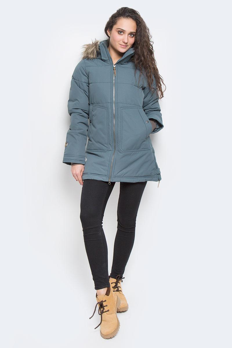 Куртка женская Icepeak Teresa, цвет: темно-зеленый. 653054532IV. Размер 40 (46)653054532IV_569Женская куртка Icepeak Teresa выполнена из 100% полиэстера. Материал изготовлен при помощи технологии Icemax, которая обеспечит вам надежную защиту от ветра и влаги. В качестве подкладки также используется полиэстер. Утеплителем служит материал FinnWad, который обладает высокими теплоизоляционными свойствами. Модель с воротником-стойкой и съемным капюшоном застегивается на застежку-молнию с двумя бегунками и имеет внутреннюю ветрозащитную планку. Капюшон, оформленный искусственным мехом, пристегивается к изделию за счет застежку-молнии и кнопок. Кроай капюшона дополнен шнурком-кулиской. Низ рукавов дополнен внутренними эластичными манжетами. Объем по талии регулируется за счет скрытого шнурка-кулиски. В боковых швах расположены застежки-молнии. Спереди расположено два накладных кармана на кнопках, а с внутренней стороны - накладной карман-сетка и прорезной карман на застежке-молнии. На рукавах расположены фирменные нашивки.