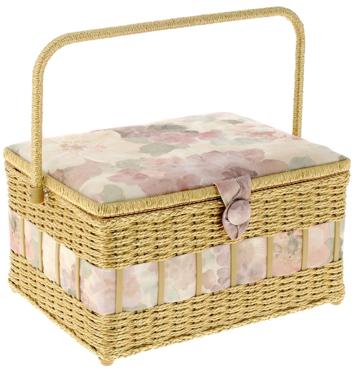 Шкатулка для рукоделия Grace & Glamour Акварельные цветы, 24 х 31,5 х 19,5 см шкатулка для рукоделия za 09630 22 grace красная с бежевыми цветами