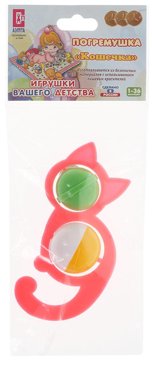 Аэлита Погремушка Кошечка цвет коралловый Удобная форма ручки погремушки позволит малышу с легкостью взять...
