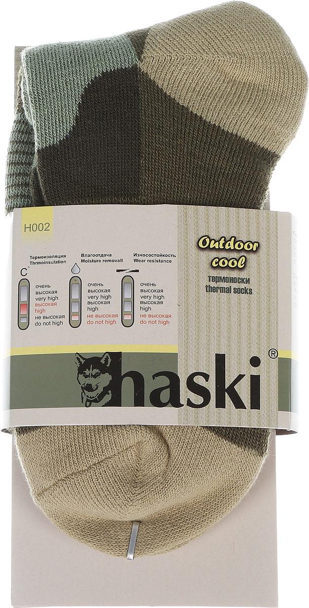 Термоноски мужские Haski, цвет: зеленый, светло-зеленый, серо-бежевый. H002. Размер 44/46H002Мужские термоноски Haski предназначены для ежедневного использования в холодную погоду. Модель выполнена из акрила, полиамида, мериносовой шерсти и эластана. Уплотненное плетение позволяет максимально защитить стопу от холода, а вытянутая по все длине носка зона из более тонкого плетения создана для улучшения влаговывода и вентиляции ноги.Эластичная поддержка свода стопы и лодыжки комфортно фиксируют носок, не позволяя ему сползать. Благодаря многозональной структуре модель функциональна и удобна.
