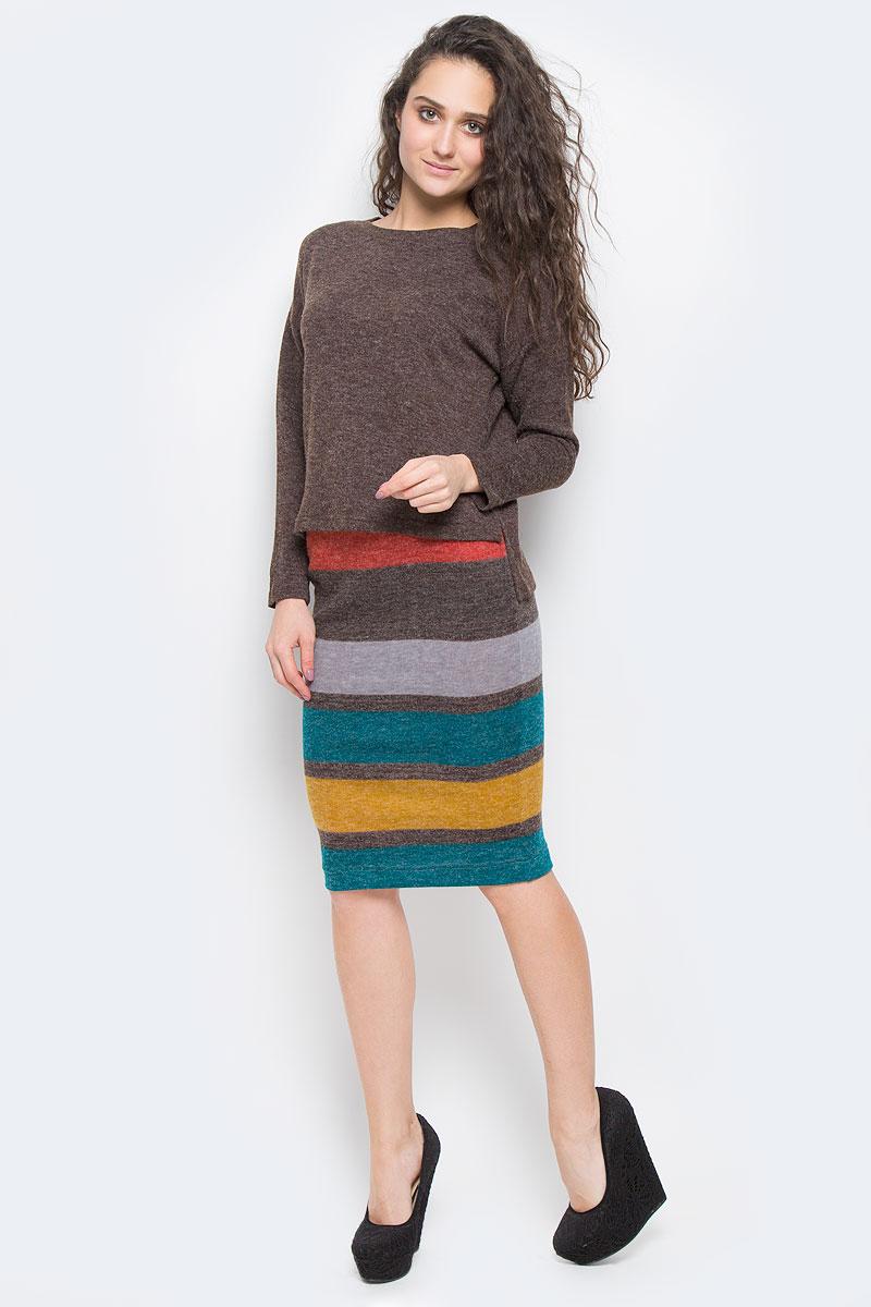 Джемпер женский La Via Estelar, цвет: темно-коричневый. 24602. Размер 48 платье la via estelar цвет фиолетовый 14672 2 размер 48