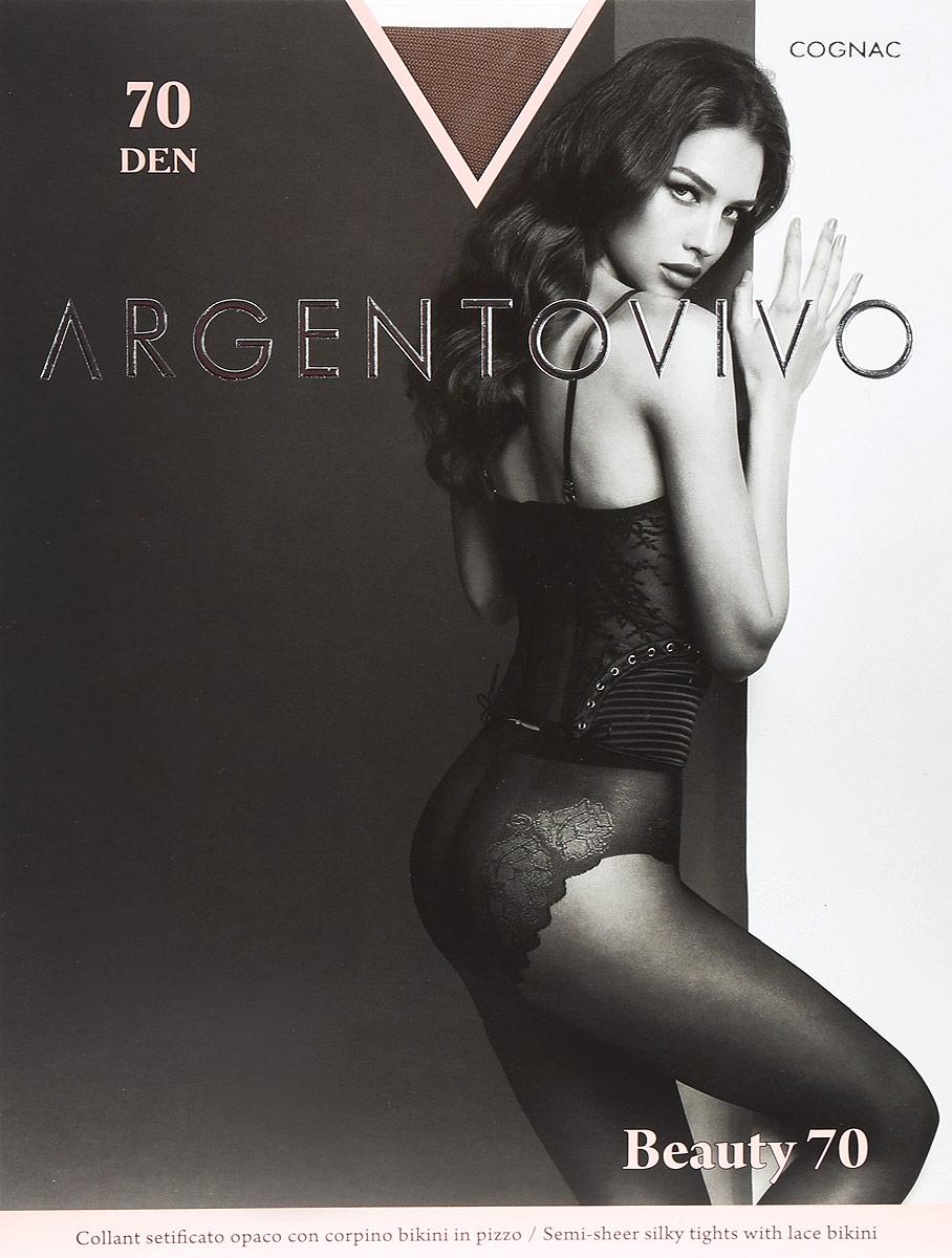 Колготки женские Argentovivo Beauty 70, цвет: Cognac (коньяк). 31314. Размер 4 (48/50) колготки argentovivo beauty 2 20 den черный