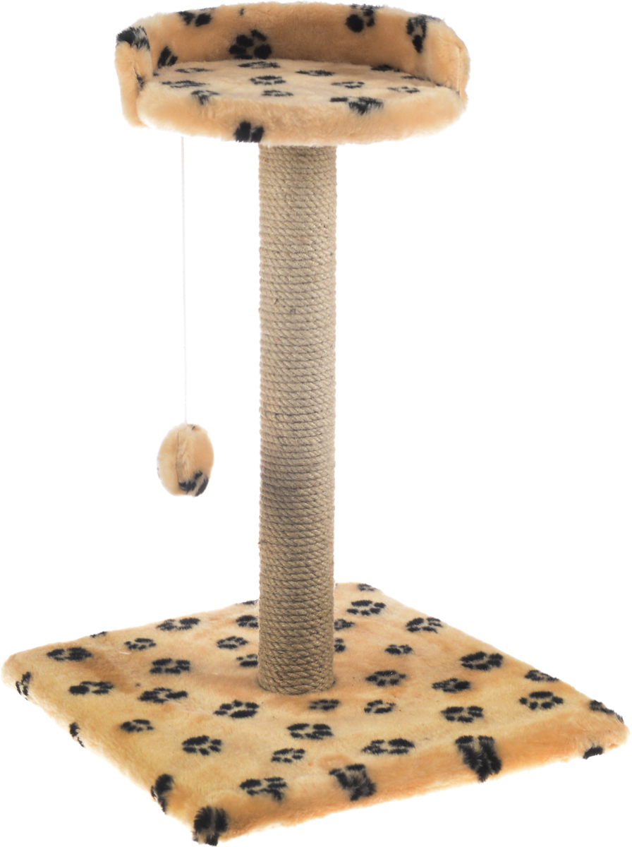 Когтеточка Меридиан Арена, цвет: бежевый, черный, 40 х 40 х 59 см. К515К515Ла_бежевый, черные лапыКогтеточка Меридиан Арена поможет сохранить мебель и ковры в доме от когтей вашего любимца, стремящегося удовлетворить свою естественную потребность точить когти. Когтеточка изготовлена из ДСП, искусственного меха и джута. Товар продуман в мельчайших деталях и, несомненно, понравится вашей кошке. Подвесная игрушка привлечет внимание питомца. Сверху имеется полка с бортом, на которой кошка сможет отдохнуть.Всем кошкам необходимо стачивать когти. Когтеточка - один из самых необходимых аксессуаров для кошки. Для приучения к когтеточке можно натереть ее сухой валерьянкой или кошачьей мятой. Когтеточка поможет вашему любимцу стачивать когти и при этом не портить вашу мебель.Размер основания: 40 х 40 см.Высота когтеточки: 59 см.Диаметр полки: 28 см.