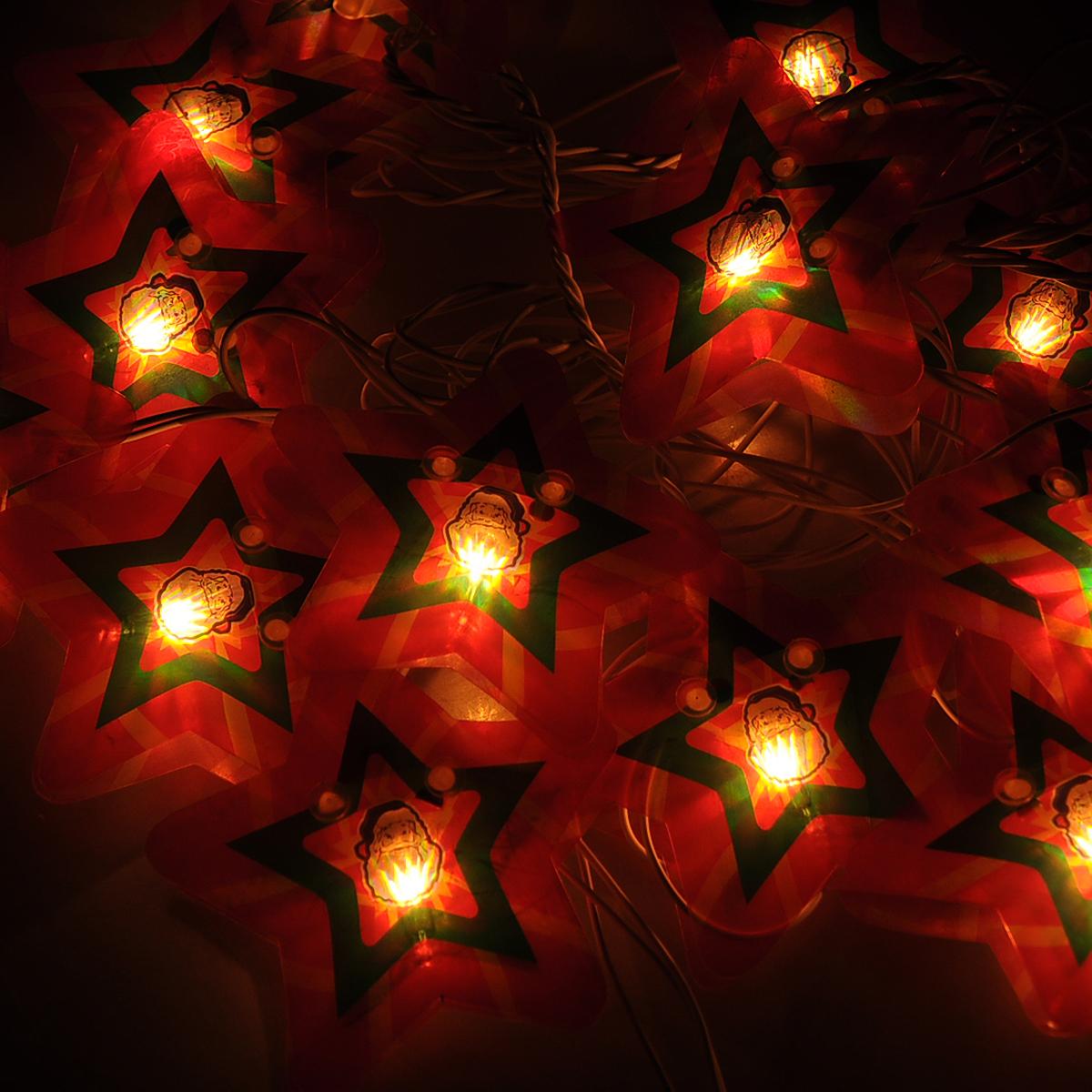 Гирлянда новогодняя Звезда, электрическая, 16 ламп, 2,5 м. 3534135341Новогодняя электрическая гирлянда Звезда украсит интерьер вашего дома или офиса в преддверии Нового года. Лампы выполнены в виде двух пластиковых пластинок в форме звезды. Между пластинами располагается лампочка. Имеется тумблер переключения режимов мигания огней (8 режимов). Оригинальный дизайн и красочное исполнение создадут праздничное настроение. Откройте для себя удивительный мир сказок и грез. Почувствуйте волшебные минуты ожидания праздника, создайте новогоднее настроение вашим дорогим и близким.Материал: ПВХ, стекло. Размер пластинок: 7,5 см х 7,5 см. Напряжение: 220 В. Мощность: 30,7 Вт.