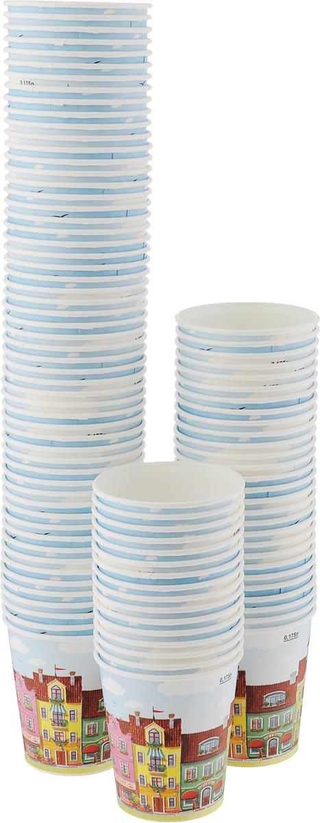 Набор одноразовых стаканов Huhtamaki Город, 180 мл, 100 штПОС30516Одноразовые стаканы Huhtamaki Город, изготовленные из плотной бумаги, предназначены для подачи горячих напитков. Вы можете взять их с собой на природу, в парк, на пикник и наслаждаться вкусными напитками. Несмотря на то, что стаканы бумажные, они очень прочные и не промокают. Диаметр (по верхнему краю): 7 см. Диаметр дна: 5 см.Высота: 7,5 см.