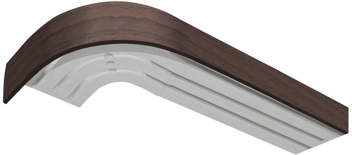 Багет Эскар, цвет: орех, 5 х 120 см29370120Багет Эскар представляет собой изготовленную из поливинилхлорида (ПВХ) полую пластину, применяющуюся как потолочный карниз.Багет для карниза крепится к карнизным шинам. Благодаря багетному карнизу, от взора скрывается верхняя часть штор (шторная лента, крючки), тем самым придавая окну и интерьеру в целом изысканный вид и шарм.