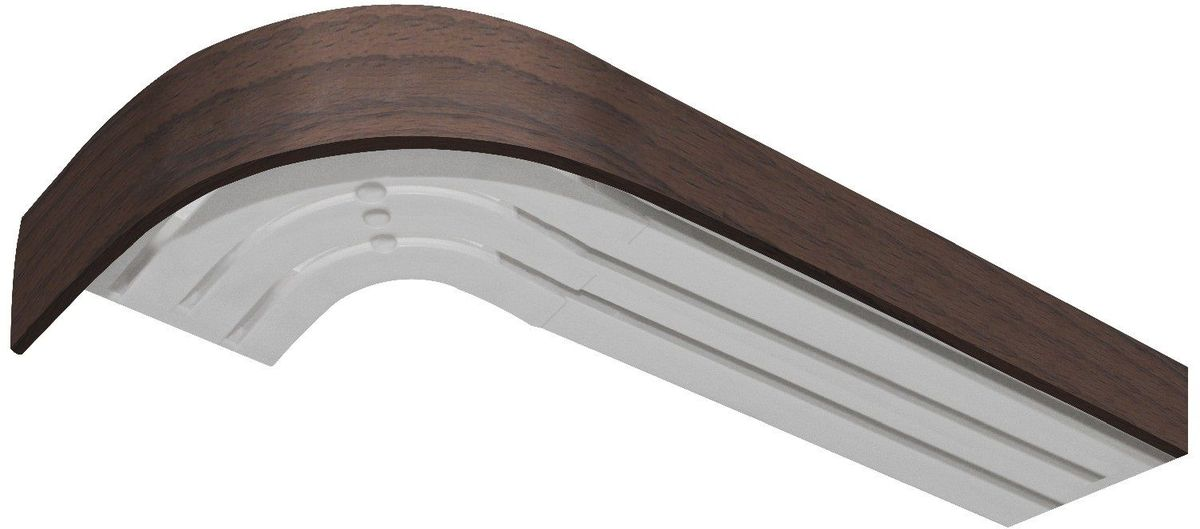 Бленда для шинного карниза Эскар, цвет: орех, ширина 5 см, длина 350 см29370350Бленда – аксессуар, который дополняет карниз и делает его более эстетичным. За лентой скрываются крючки, кольца и другие элементы крепежа. Изделие изготавливается из пластика, устойчивого к механическим нагрузкам и соответствующего всем экологическим нормам. Оно хорошо гнется, что позволяет сделать карниз с закругленными углами. Такое оформление придает интерьеру благородства и богатства.