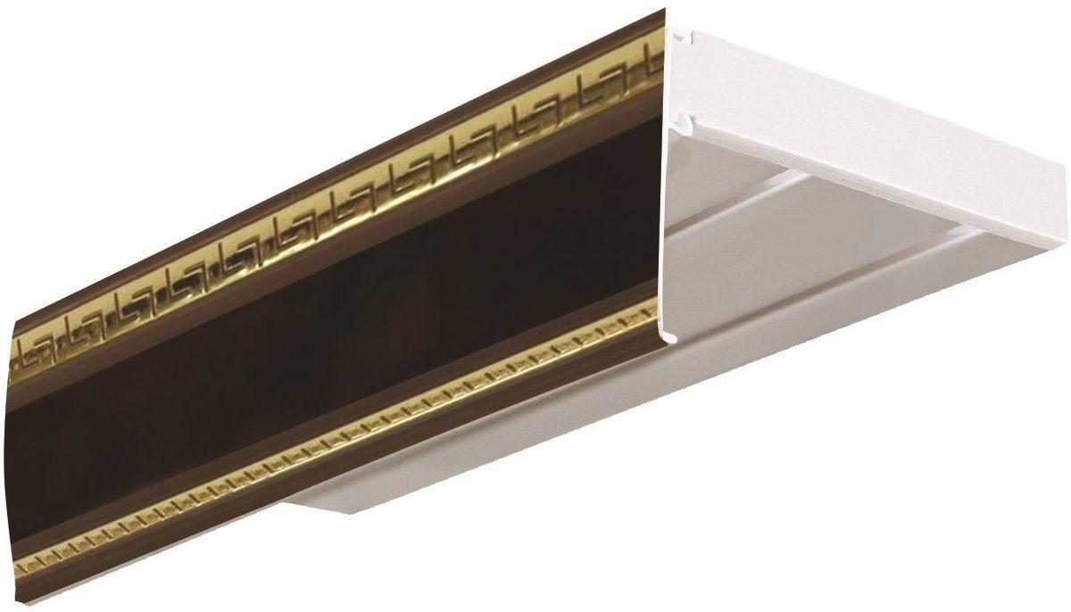 Багет Эскар Антик, цвет: махагон, 7 х 290 см29601290Багет Эскар Антик представляет собой изготовленную из поливинилхлорида (ПВХ) полую пластину, применяющуюся как потолочный карниз.Багет для карниза крепится к карнизным шинам. Благодаря багетному карнизу, от взора скрывается верхняя часть штор (шторная лента, крючки), тем самым придавая окну и интерьеру в целом изысканный вид и шарм.