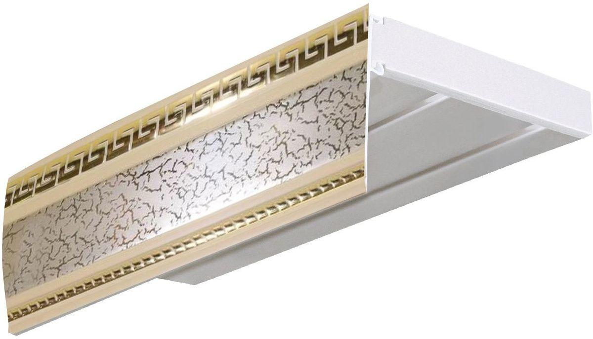 Багет Эскар Антик, цвет: бежевый, золотистый, 7 х 350 см29607350Багет Эскар Антик представляет собой изготовленную из поливинилхлорида (ПВХ) полую пластину, применяющуюся как потолочный карниз.Багет для карниза крепится к карнизным шинам. Благодаря багетному карнизу, от взора скрывается верхняя часть штор (шторная лента, крючки), тем самым придавая окну и интерьеру в целом изысканный вид и шарм.