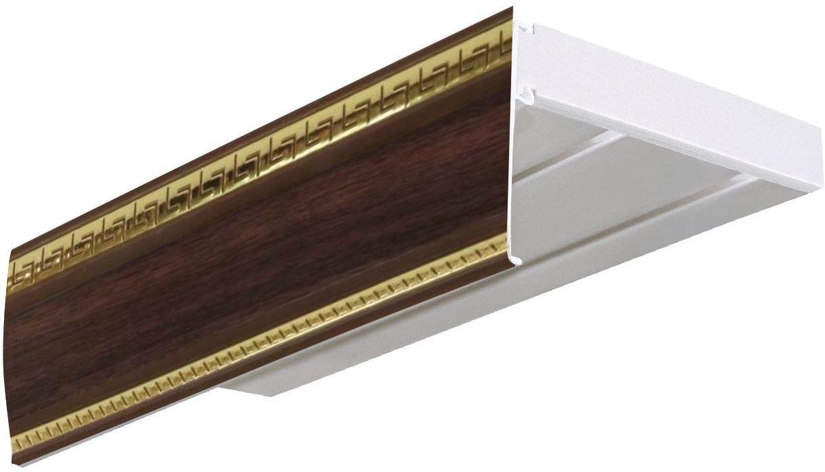 Бленда для шинного карниза Эскар Антик, цвет: темный ясень, ширина 7 см, длина 250 см29600250Бленда – аксессуар, который дополняет карниз и делает его более эстетичным. За лентой скрываются крючки, кольца и другие элементы крепежа. Изделие изготавливается из пластика, устойчивого к механическим нагрузкам и соответствующего всем экологическим нормам. Оно хорошо гнется, что позволяет сделать карниз с закругленными углами. Такое оформление придает интерьеру благородства и богатства.