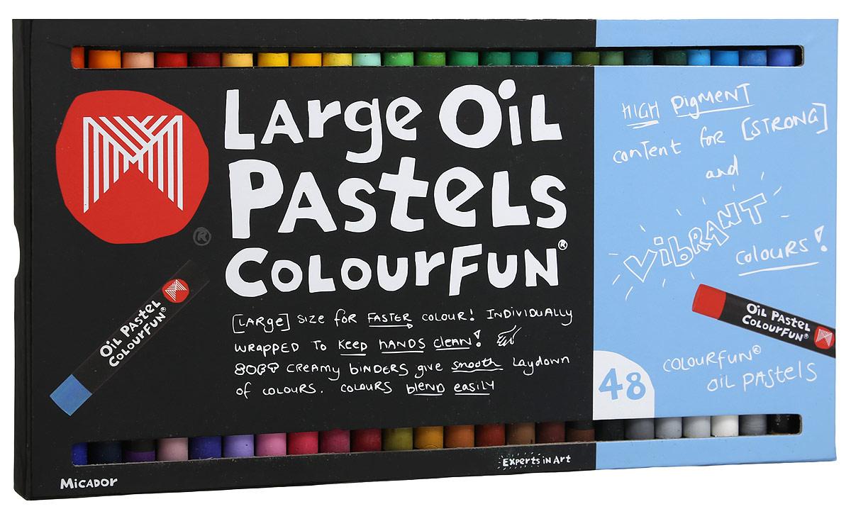 Micador Масляные пастельные мелки 48 цветовOPM648Весело, ярко, мягко и безопасно рисуем по любой поверхности! Масляные пастельные мелки Micador - необычная палитра, наполненная стильными оттенками. Мелки дают глубокий, насыщенный цвет и красивую фактуру, отличаются от других мелков высокой упругостью и эластичностью. Каждый мелок обернут бумагой, чтобы ручки малыша не пачкались, легко смываются водой, что обязательно оценят родители. Мелки гипоаллергенные, не содержат токсичных веществ, полностью безопасны для маленьких детей. Рисование развивает творческие способности, воображение, логику, память, мышление.Состав мелка: карбонат кальция, стеариновая кислота, минеральное масло, пальмовое масло, диоксид титана, краситель, воск, вазелин.
