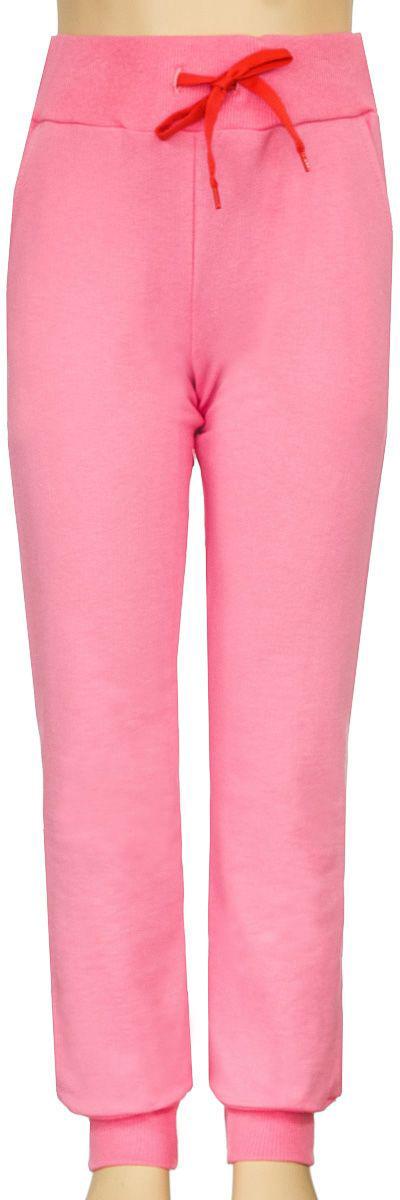 Брюки спортивные для девочки M&D, цвет: розовый. Б1903БВ-5. Размер 134Б1903БВ-5Спортивные брюки для девочки выполнены из качественного эластичного материала. Брюки на талии имеют широкую эластичную резинку, благодаря чему, они не сдавливают живот ребенка и не сползают. Объем талии регулируется с помощью шнурка. Спереди предусмотрены два втачных кармашка. Низ брючин дополнен эластичными манжетами.