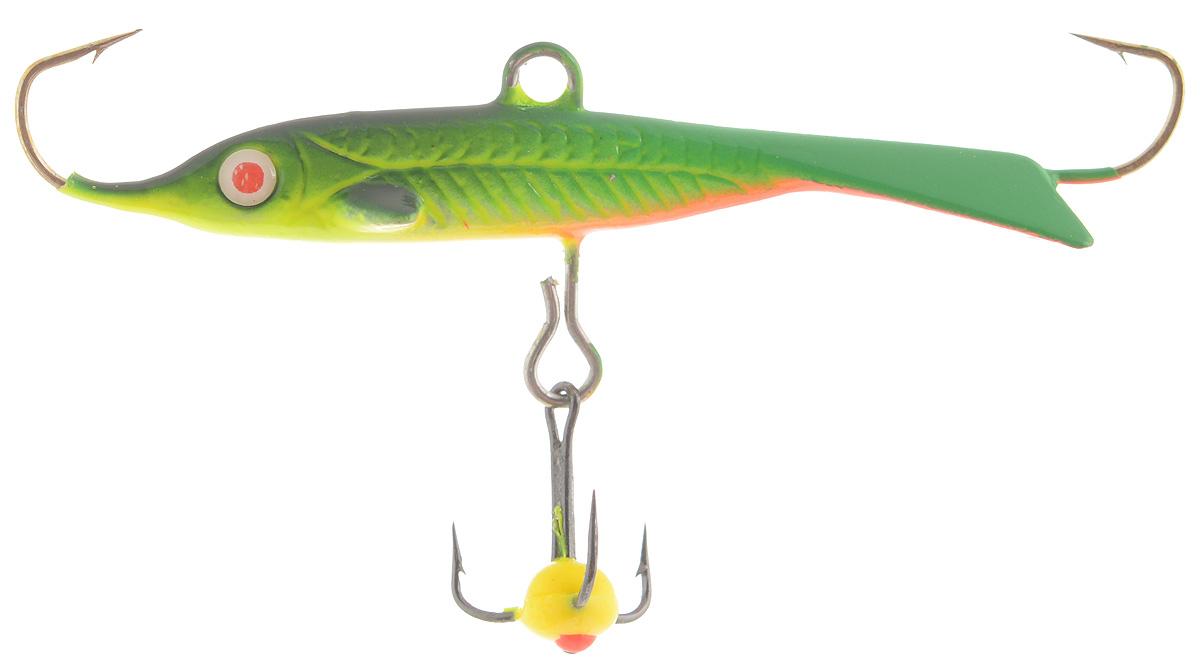 Балансир Dixxon Flipper, цвет: зеленый, оранжевый, черный, длина 4,8 см, 8 г. 5860458604Балансир Dixxon Flipper удлиненной формы c тремя крючками предназначен для ловли рыб со льда. Изделие, изготовленное из прочного металла, оснащено тройным крючком и высококачественными впаянными крючками. Форма этого балансира напоминает мелкую рыбку. Балансир окрашен в яркие цвета, что делает его более заметным и позволяет привлечь рыбу с более дальнего расстояния.Какая приманка для спиннинга лучше. Статья OZON Гид