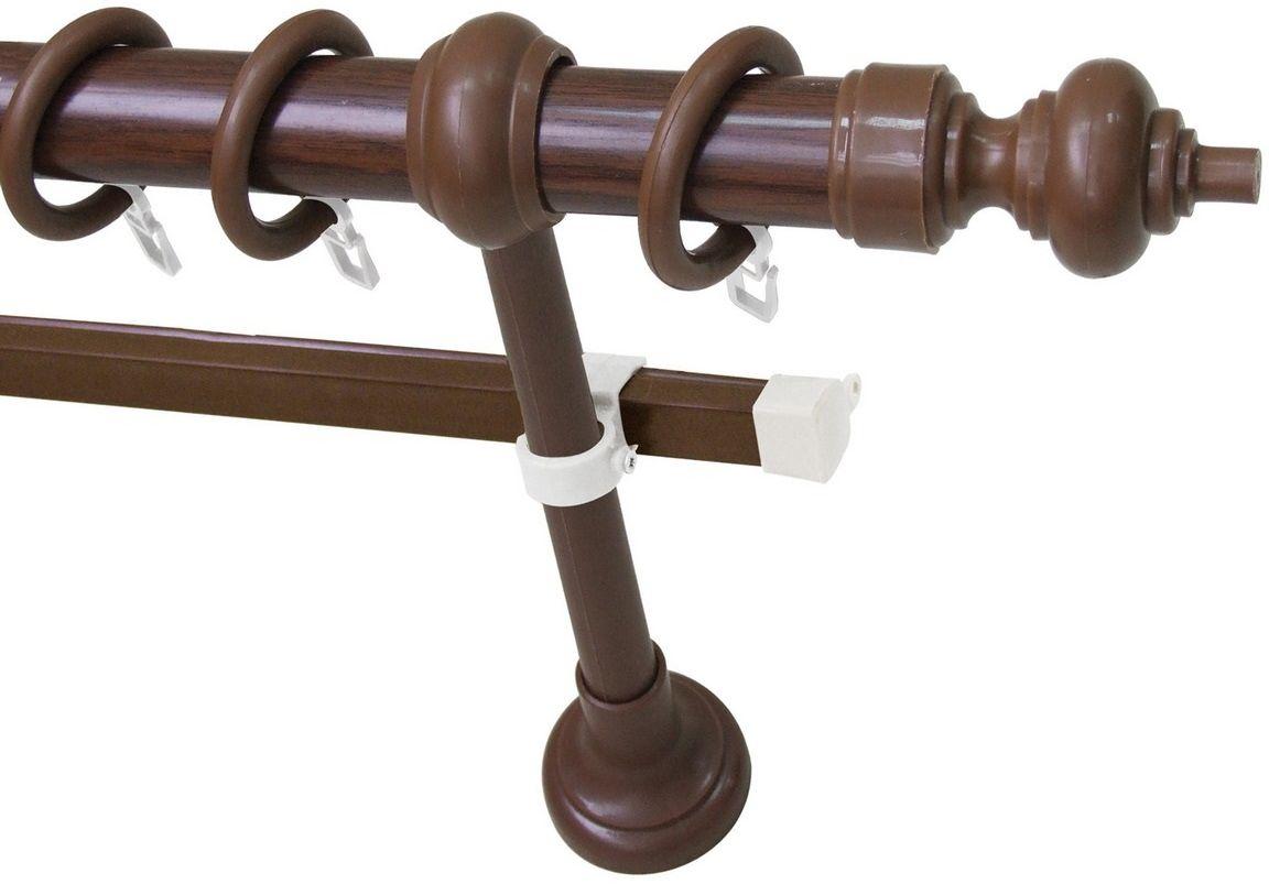 Карниз Эскар Эконом, металл/пластик, с U-шиной, составной, цвет: темный орех, длина 280 см