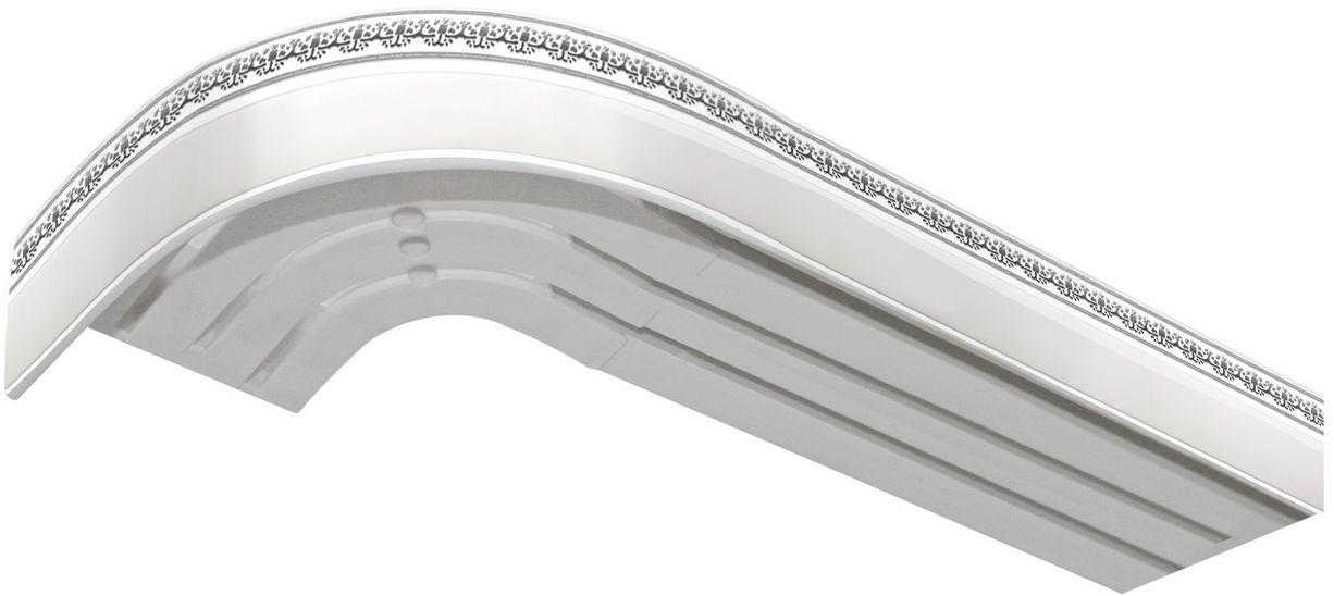 Багет Эскар Серебро Дамаск, цвет: белая подложка, серебристый, 5 х 240 см2901121240Багет Эскар представляет собой изготовленную из поливинилхлорида (ПВХ) полую пластину, применяющуюся как потолочный карниз.Багет для карниза крепится к карнизным шинам. Благодаря багетному карнизу, от взора скрывается верхняя часть штор (шторная лента, крючки), тем самым придавая окну и интерьеру в целом изысканный вид и шарм.