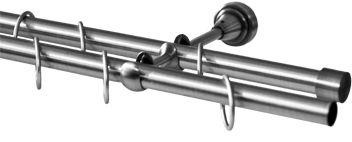 Карниз Эскар, комплектный, составной, двухрядный, цвет: матовый хром, диаметр 16/16 мм, длина 320 см9390016320Карниз Эскар изготовлен из метала. Этот удобный 2-рядный карниз подходит для штор и тюля. Минималистическое оформление позволяет перенести акцент на функциональные особенности изделия. В любом интерьере такой стильный карниз будет выглядеть эффектно.Комплект включает в себя кольца, торцевые заглушки, кронштейны и другие элементы для монтажа.Наконечники приобретаются отдельно.