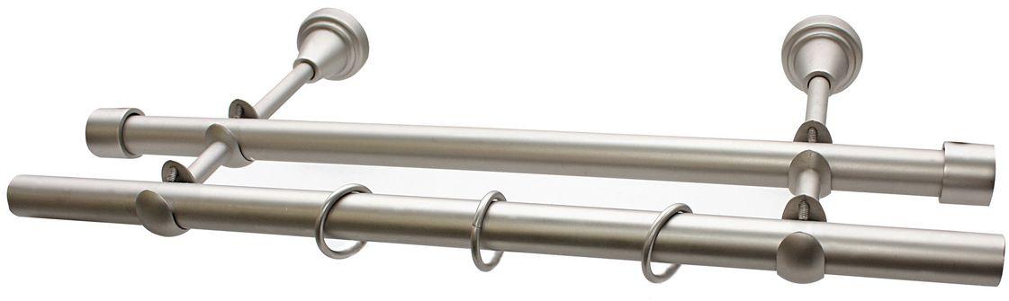 Карниз двухрядный Эскар, комплектный, цвет: матовый хром, 19/19 мм х 150 см9390019150Карниз Эскар изготовлен из метала. Этот удобный 2-рядный карниз подходит для штор и тюля. Минималистическое оформление позволяет перенести акцент на функциональные особенности изделия. В любом интерьере такой стильный карниз будет выглядеть эффектно.Комплект включает в себя кольца, торцевые заглушки, кронштейны и другие элементы для монтажа.Наконечники приобретаются отдельно.